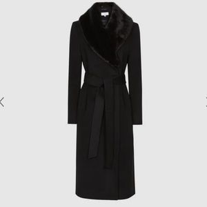 Reiss-(Pacey) Faux Fur Shawl Collar Overcoat